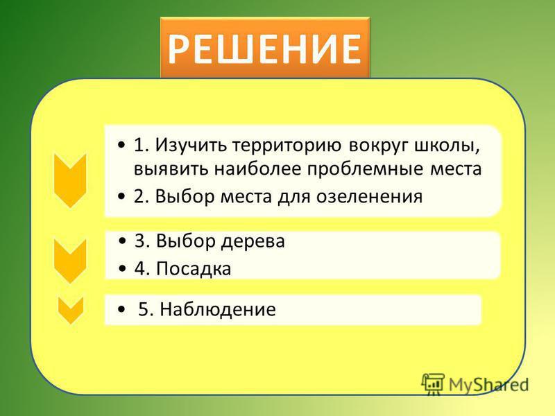 1. Изучить территорию вокруг школы, выявить наиболее проблемные места 2. Выбор места для озеленения 3. Выбор дерева 4. Посадка 5. Наблюдение