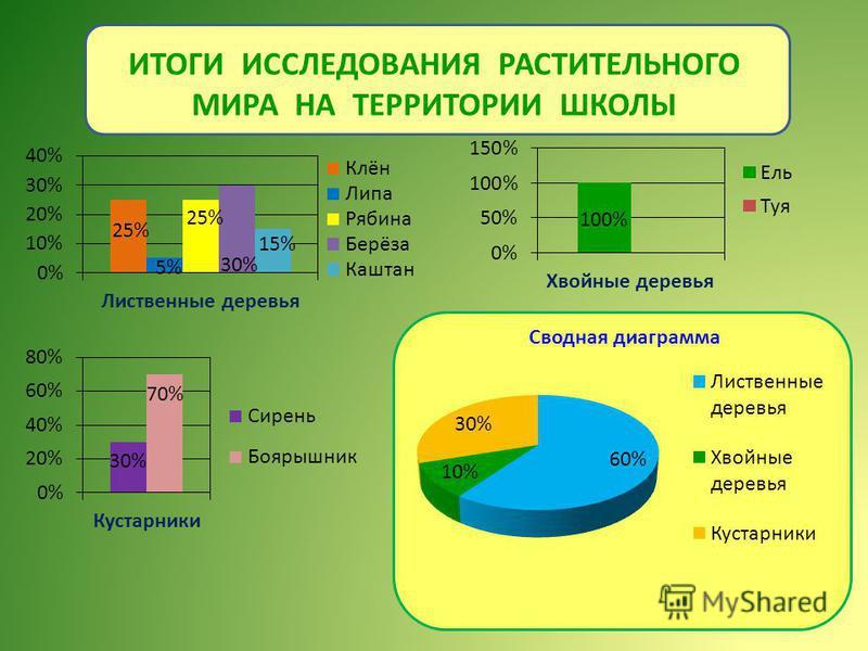 ИТОГИ ИССЛЕДОВАНИЯ РАСТИТЕЛЬНОГО МИРА НА ТЕРРИТОРИИ ШКОЛЫ Сводная диаграмма