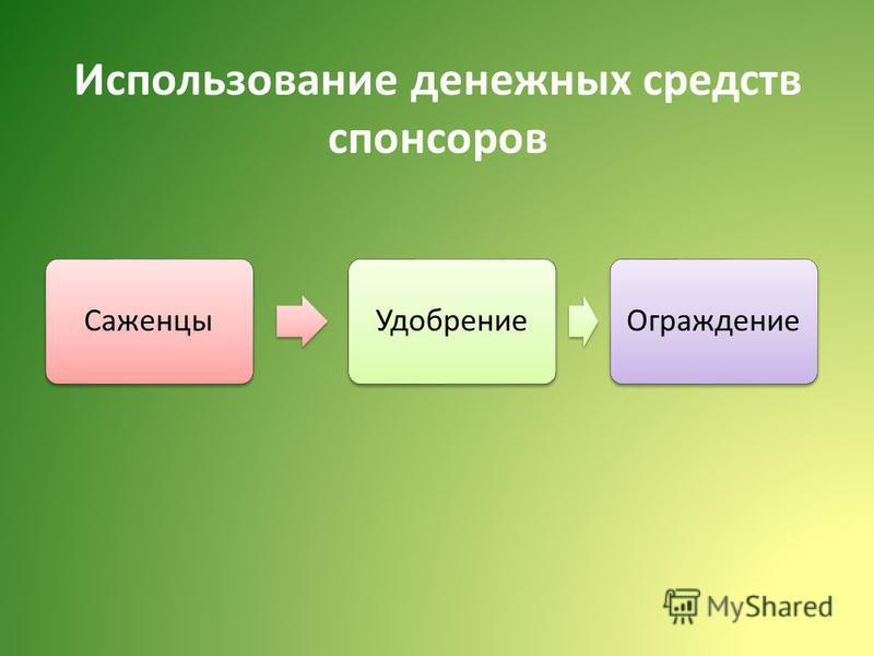 Использование денежных средств спонсоров Саженцы УдобрениеОграждение