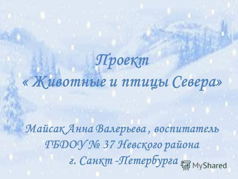 Проект « Животные и птицы Севера» Майсак Анна Валерьева, воспитатель ГБДОУ 37 Невского района г. Санкт -Петербурга