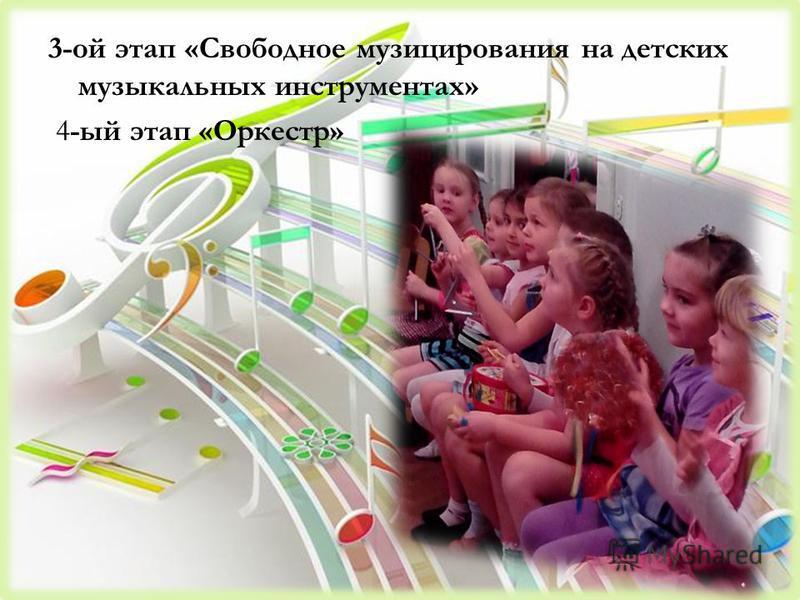 3-ой этап «Свободное музицирования на детских музыкальных инструментах» 4-ый этап «Оркестр»