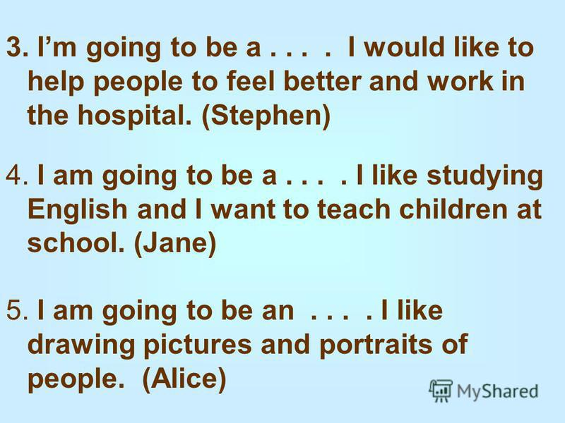 3. Im going to be a.... I would like to help people to feel better and work in the hospital. (Stephen) 4. I am going to be a.... I like studying English and I want to teach children at school. (Jane) 5. I am going to be an.... I like drawing pictures