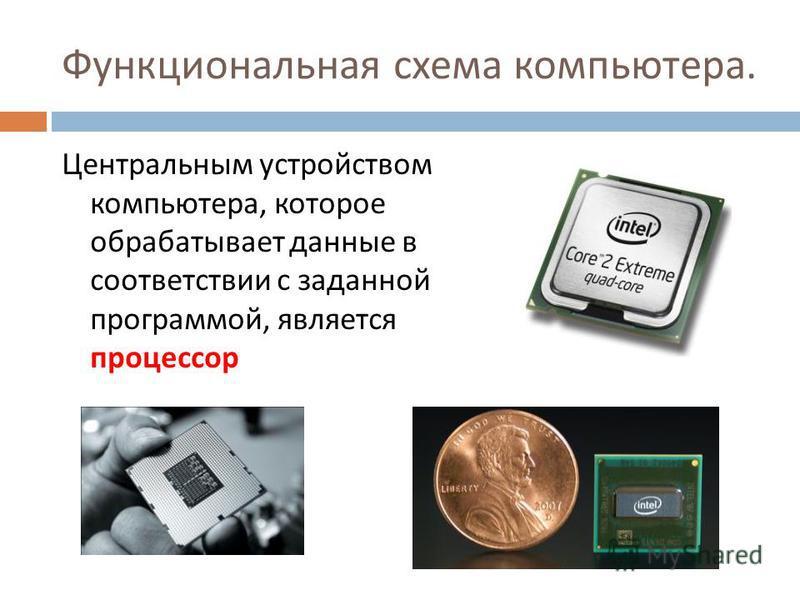Функциональная схема компьютера. Центральным устройством компьютера, которое обрабатывает данные в соответствии с заданной программой, является процессор