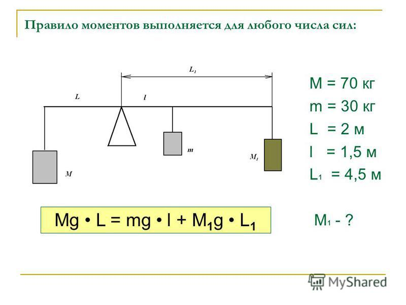 Правило моментов выполняется для любого числа сил: M = 70 кг m = 30 кг L = 2 м l = 1,5 м L 1 = 4,5 м M 1 - ? Mg L = mg l + M 1 g L 1