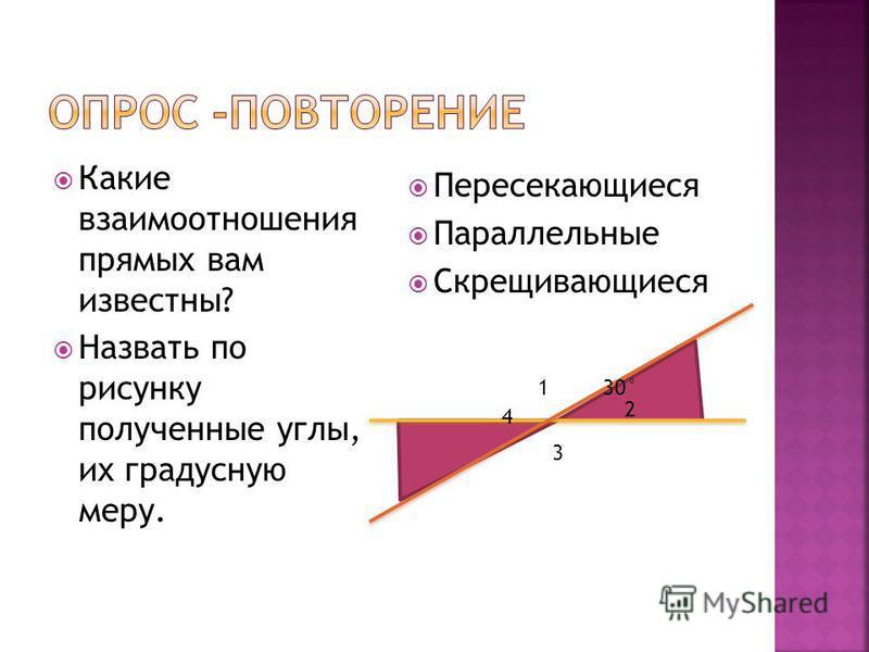 Какие взаимоотношения прямых вам известны? Назвать по рисунку полученные углы, их градусную меру. Пересекающиеся Параллельные Скрещивающиеся 30°1 2 3 4