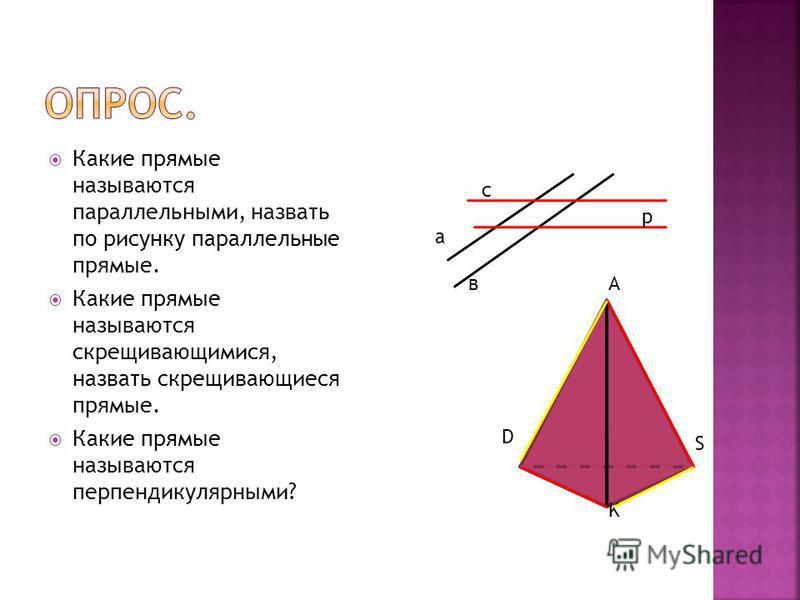 Какие прямые называются параллельными, назвать по рисунку параллельные прямые. Какие прямые называются скрещивающимися, назвать скрещивающиеся прямые. Какие прямые называются перпендикулярными? а в с р А D S K