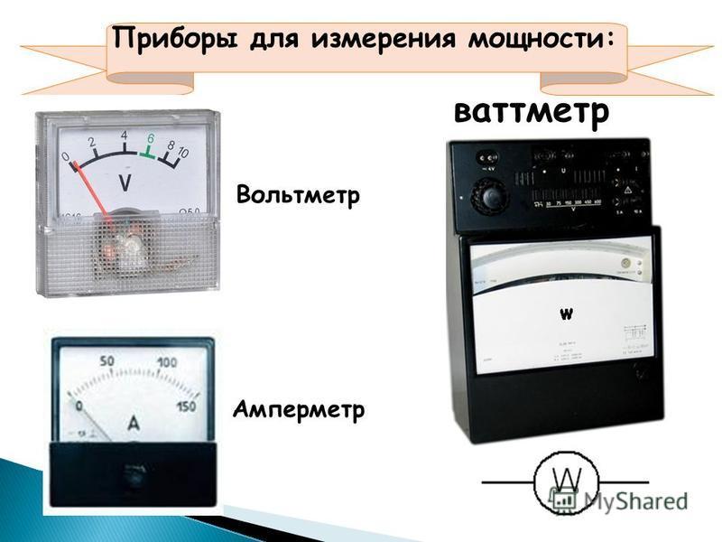 Приборы для измерения мощности: ваттметр Вольтметр Амперметр