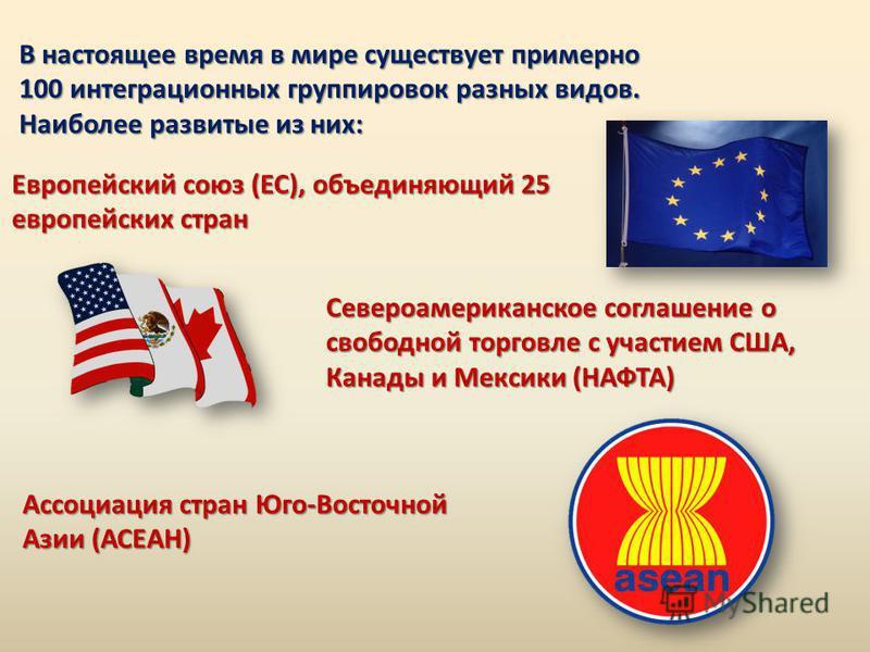 В настоящее время в мире существует примерно 100 интеграционных группировок разных видов. Наиболее развитые из них: Европейский союз (ЕС), объединяющий 25 европейских стран Североамериканское соглашение о свободной торговле с участием США, Канады и М