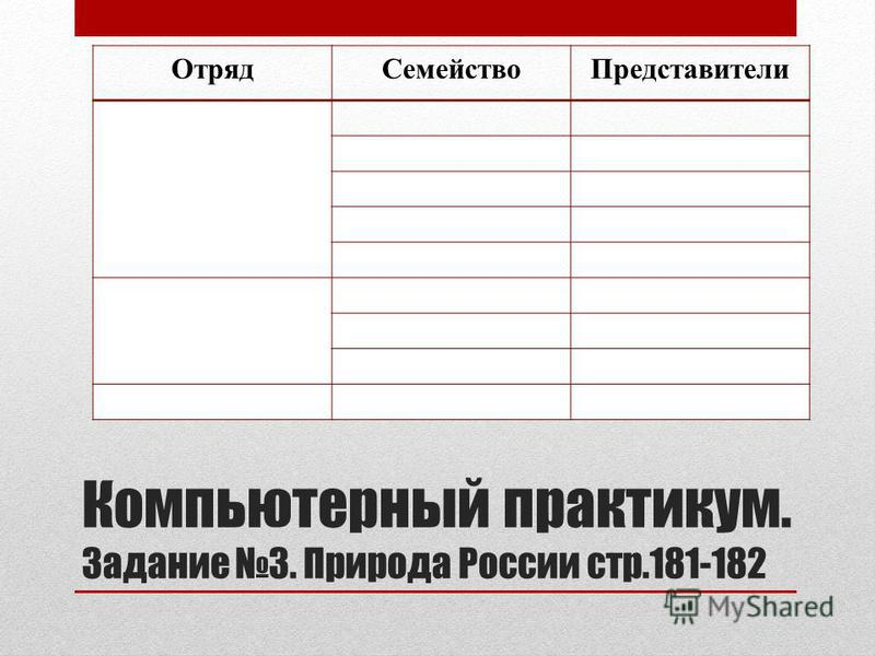 Компьютерный практикум. Задание 3. Природа России стр.181-182 Отряд СемействоПредставители