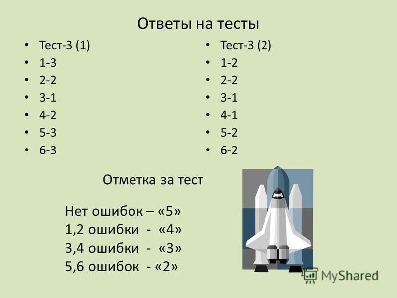 Ответы на тесты Тест-3 (1) 1-3 2-2 3-1 4-2 5-3 6-3 Тест-3 (2) 1-2 2-2 3-1 4-1 5-2 6-2 Отметка за тест Нет ошибок – «5» 1,2 ошибки - «4» 3,4 ошибки - «3» 5,6 ошибок - «2»