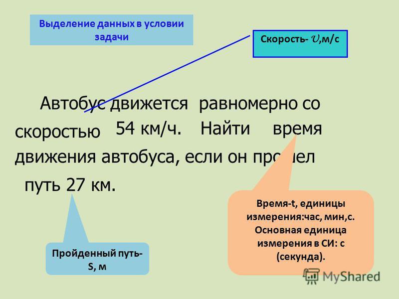 скоростью 54 км/ч. путь 27 км. время Автобус движется равномерно со Найти движения автобуса, если он прошел Пройденный путь- S, м Время-t, единицы измерения:час, мин,с. Основная единица измерения в СИ: с (секунда). Скорость- U,м/с Выделение данных в