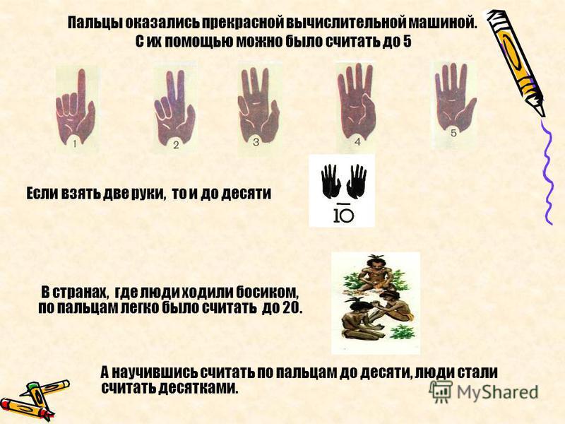 А научившись считать по пальцам до десяти, люди стали считать десятками. Пальцы оказались прекрасной вычислительной машиной. С их помощью можно было считать до 5 Если взять две руки, то и до десяти В странах, где люди ходили босиком, по пальцам легко