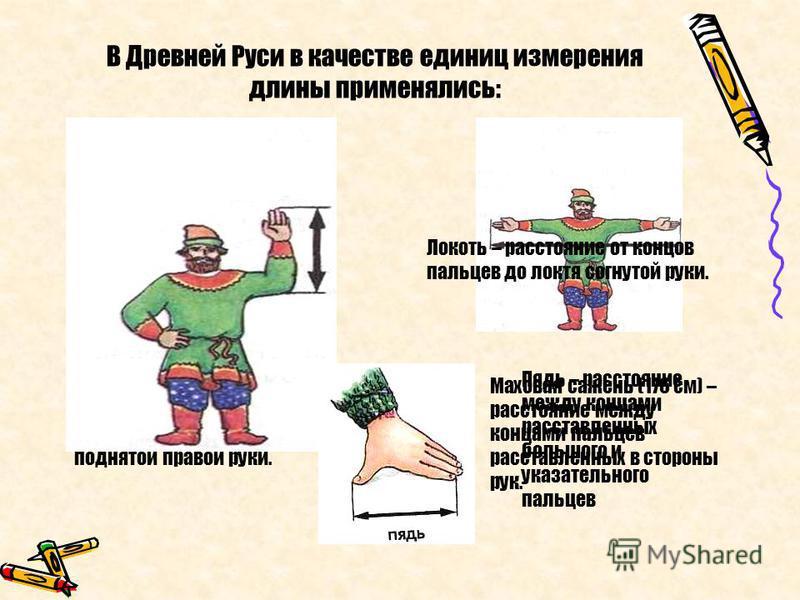 В Древней Руси в качестве единиц измерения длины применялись: Косая сажень (248 см) – расстояние от пальцев левой ноги до конца пальцев поднятой правой руки. Маховая сажень (176 см) – расстояние между концами пальцев расставленных в стороны рук. Локо