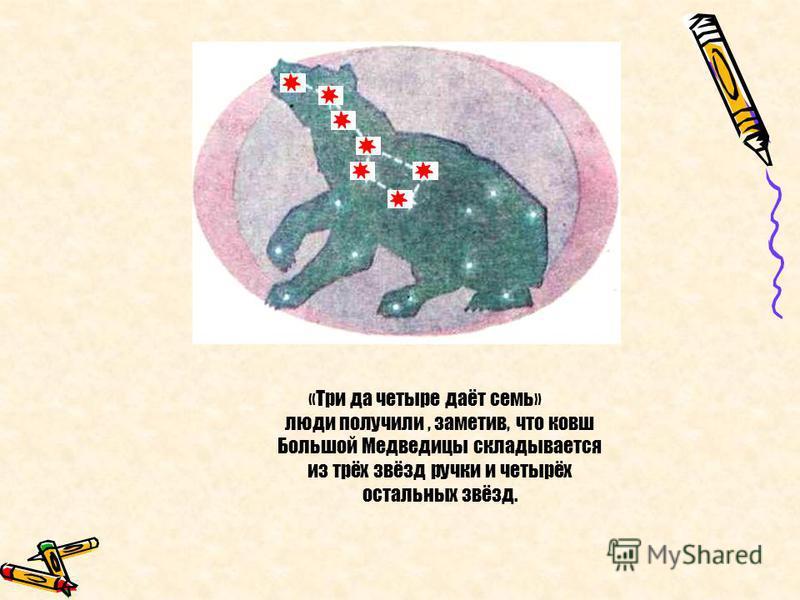 «Три да четыре даёт семь» люди получили, заметив, что ковш Большой Медведицы складывается из трёх звёзд ручки и четырёх остальных звёзд.