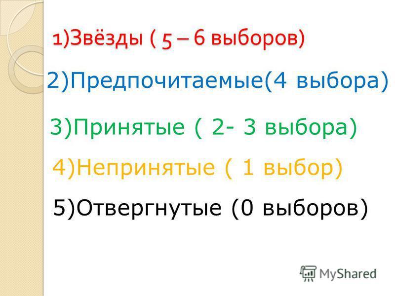 1) Звёзды ( 5 – 6 выборов ) 2)Предпочитаемые(4 выбора) 3)Принятые ( 2- 3 выбора) 4)Непринятые ( 1 выбор) 5)Отвергнутые (0 выборов)