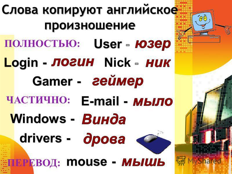 Слова копируют английское произношение Login - Gamer - Windows - E-mail - drivers - ПОЛНОСТЬЮ: ЧАСТИЧНО: ПЕРЕВОД: mouse -