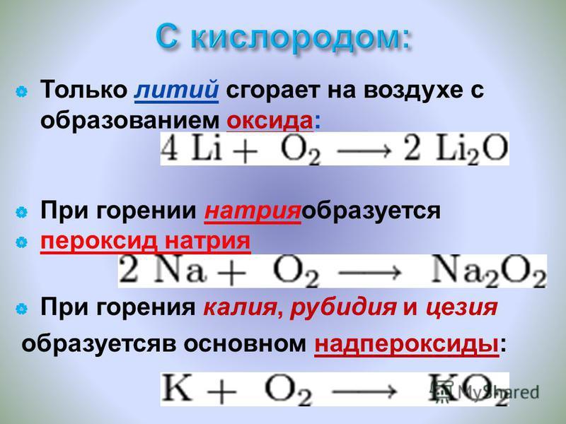 Только литий сгорает на воздухе с образованием оксида: При горении натрия образуется пероксид натрия При горения калия, рубидия и цезия образуется в основном надпероксиды: