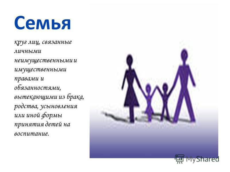 Семья круг лиц, связанные личными неимущественными и имущественными правами и обязанностями, вытекающими из брака, родства, усыновления или иной формы принятия детей на воспитание.