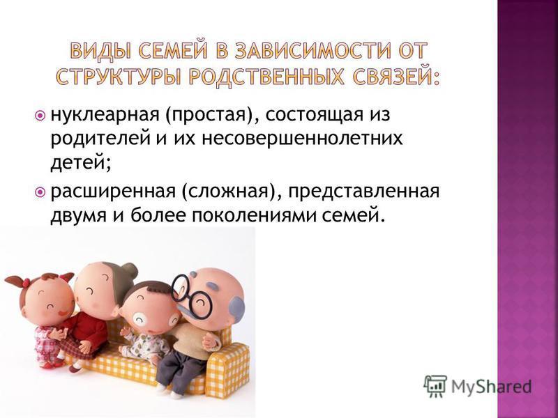 нуклеарная (простая), состоящая из родителей и их несовершеннолетних детей; расширенная (сложная), представленная двумя и более поколениями семей.