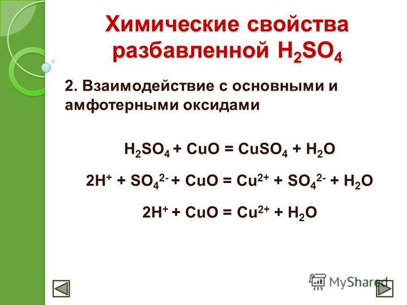 Химические свойства разбавленной H 2 SO 4 2. Взаимодействие с основными и амфотерными оксидами H 2 SO 4 + CuO = CuSO 4 + H 2 O 2H + + SO 4 2- + CuO = Cu 2+ + SO 4 2- + H 2 O 2H + + CuO = Cu 2+ + H 2 O