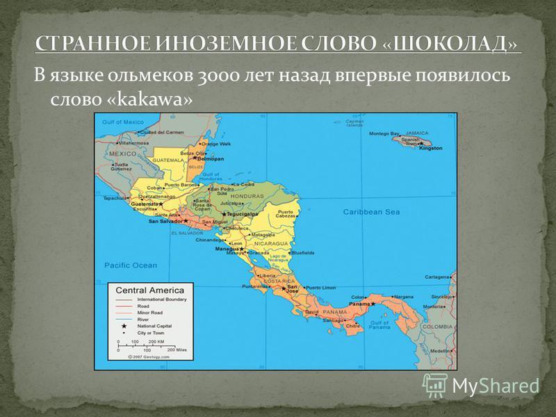 В языке ольмеков 3000 лет назад впервые появилось слово «kakawa»