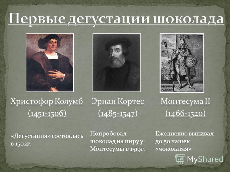 Христофор Колумб (1451-1506) «Дегустация» состоялась в 1502 г. Монтесума II (1466-1520) Ежедневно выпивал до 50 чашек «чоколатля» Эрнан Кортес (1485-1547) Попробовал шоколад на пиру у Монтесумы в 1519 г.