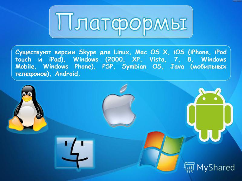 Существуют версии Skype для Linux, Mac OS X, iOS (iPhone, iPod touch и iPad), Windows (2000, XP, Vista, 7, 8, Windows Mobile, Windows Phone), PSP, Symbian OS, Java (мобильных телефонов), Android.