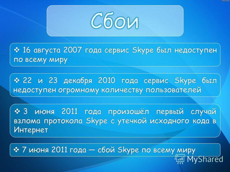 16 августа 2007 года сервис Skype был недоступен по всему миру 16 августа 2007 года сервис Skype был недоступен по всему миру 22 и 23 декабря 2010 года сервис Skype был недоступен огромному количеству пользователей 22 и 23 декабря 2010 года сервис Sk