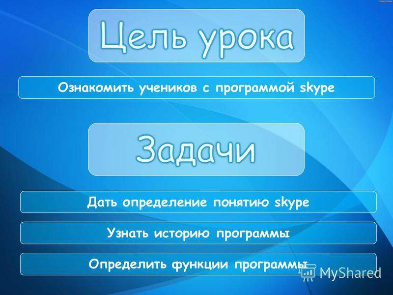 Ознакомить учеников с программой skype Дать определение понятию skype Узнать историю программы Определить функции программы