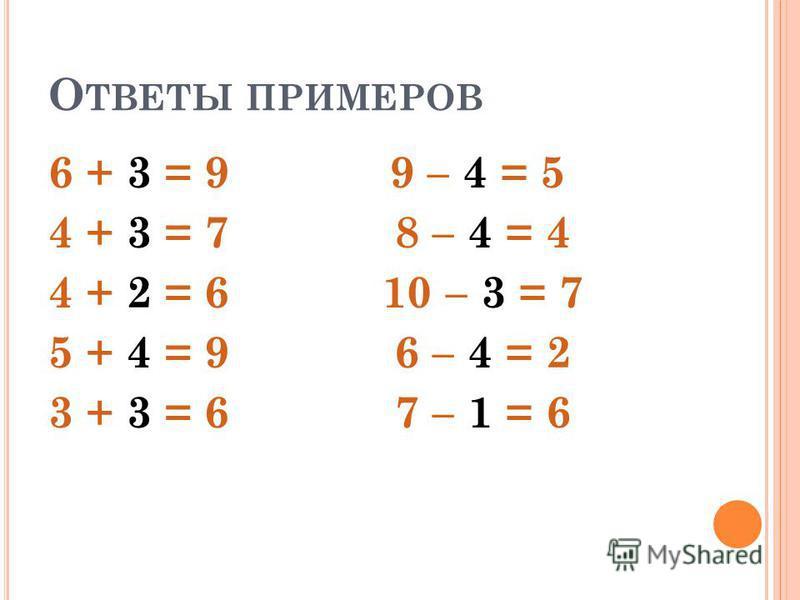 Р ЕШИТЕ ПРИМЕРЫ 6 + … = 9 9 - … = 5 4 + … = 7 8 - … = 4 4 + … = 6 10 - … = 7 5 + … = 9 6 - … = 2 3 + … = 6 7 - … = 6