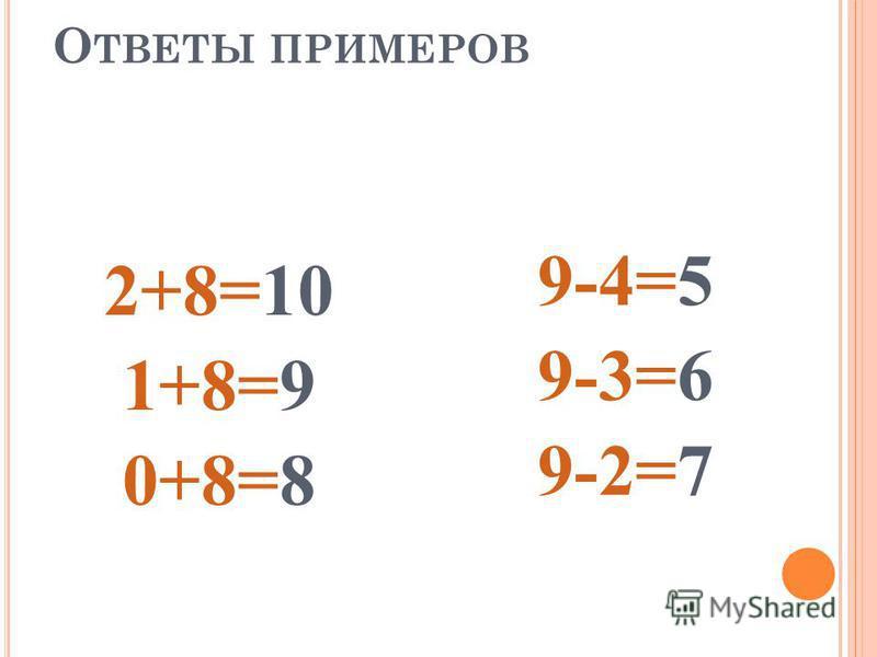 Р ЕШИТЕ ПРИМЕРЫ 2 + 8 = 9 – 4 = 1 + 8 = 9 – 3 = 0 + 8 = 9 – 2 =