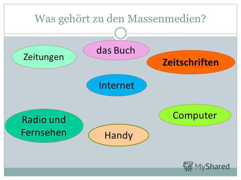Was gehört zu den Massenmedien? Zeitungen das Buch Zeitschriften Radio und Fernsehen Computer Internet Handy
