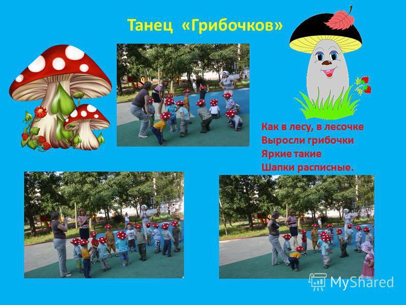 Танец «Грибочков» Как в лесу, в лесочке Выросли грибочки Яркие такие Шапки расписные.