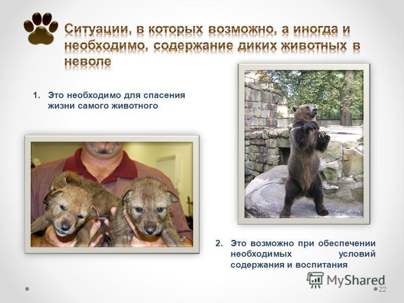 1. Это необходимо для спасения жизни самого животного 22 2. Это возможно при обеспечении необходимых условий содержания и воспитания