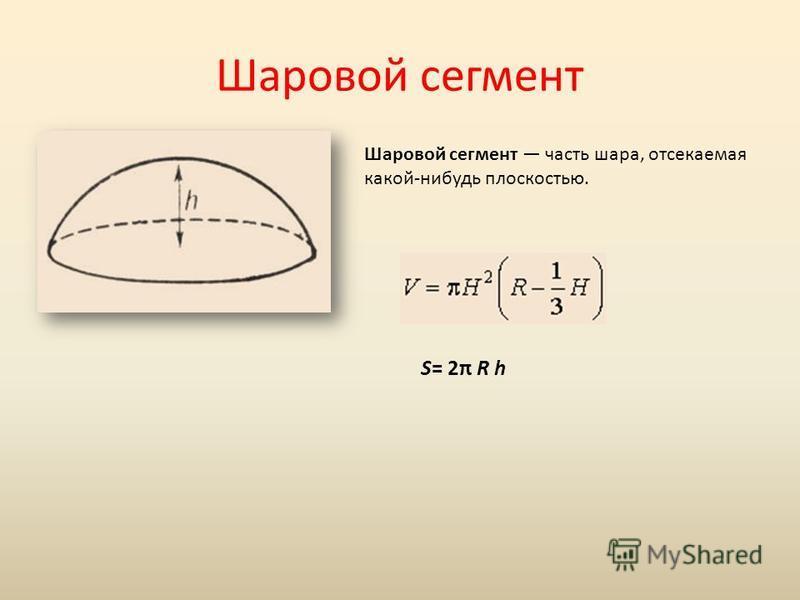 Шаровой сегмент Шаровой сегмент часть шара, отсекаемая какой-нибудь плоскостью. S= 2π R h