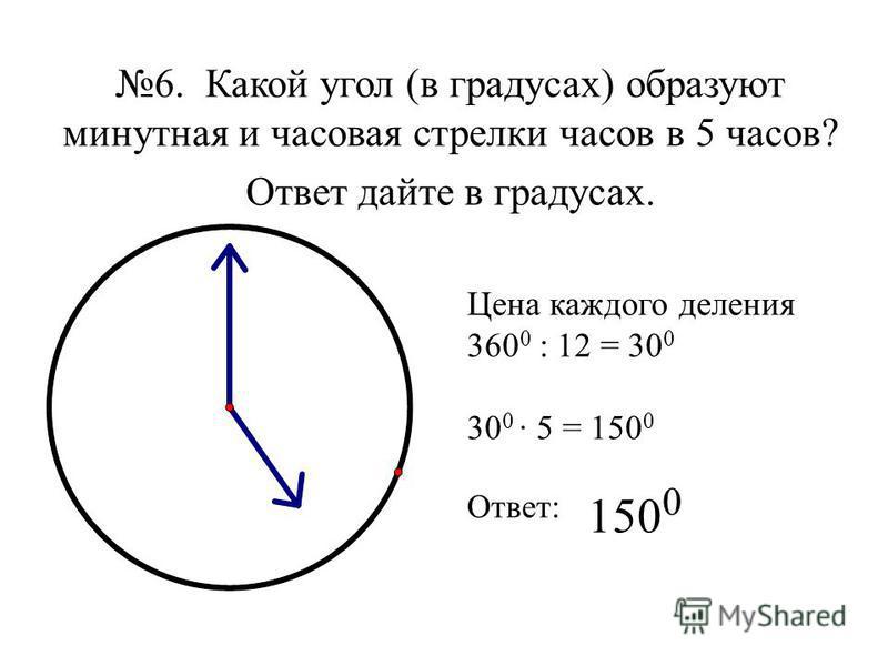 6. Какой угол (в градусах) образуют минутная и часовая стрелки часов в 5 часов? Ответ дайте в градусах. Цена каждого деления 360 0 : 12 = 30 0 30 0 · 5 = 150 0 Ответ: 150 0
