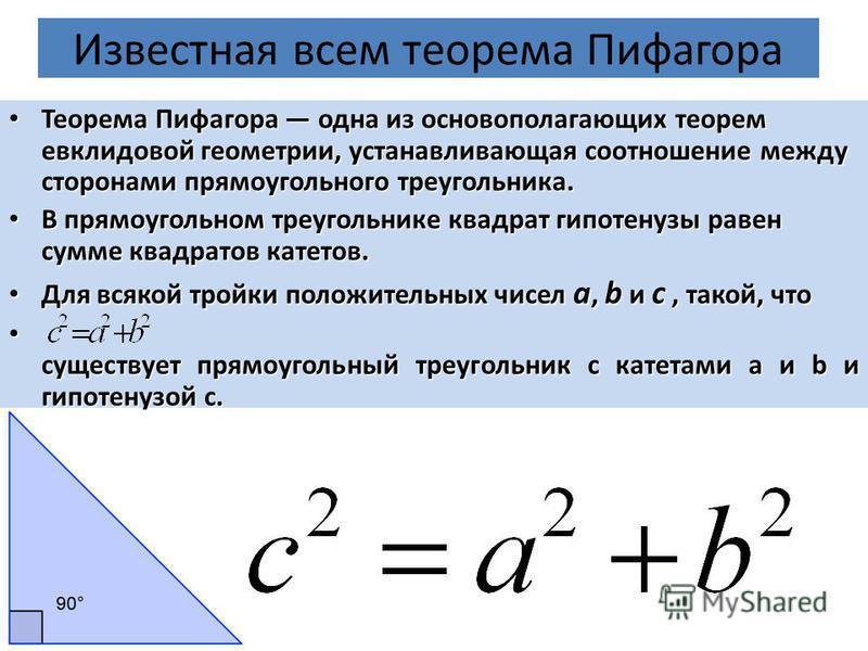 Известная всем теорема Пифагора Теорема Пифагора одна из основополагающих теорем евклидовой геометрии, устанавливающая соотношение между сторонами прямоугольного треугольника. Теорема Пифагора одна из основополагающих теорем евклидовой геометрии, уст