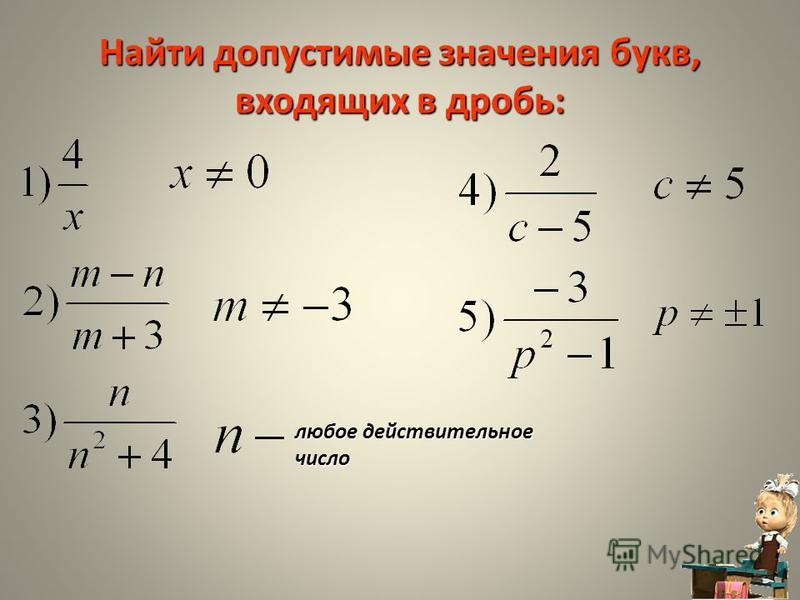 Тест «Сокращение дробей» 3. Что такое область допустимых значений дроби: Любые значения, кроме 0. Значения переменной, когда в числителе дроби получается 0. Это множество значений, при которых знаменатель дроби не равен 0. Подумай! Молодец! Подумай!