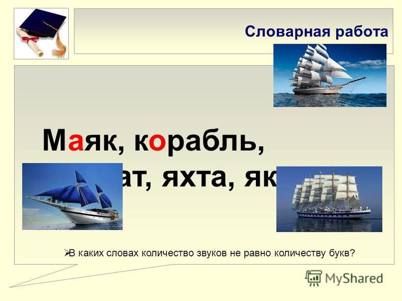 Словарная работа Маяк, корабль, фрегат, яхта, якорь. В каких словах количество звуков не равно количеству букв?