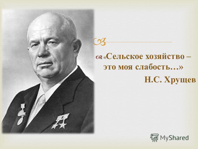 « « Сельское хозяйство – это моя слабость …» Н. С. Хрущев
