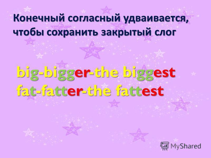 Конечный согласный удваивается, чтобы сохранить закрытый слог big-bigger-the biggest fat-fatter-the fattest