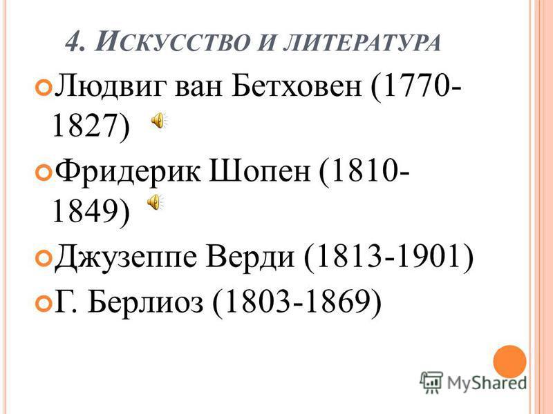 4. И СКУССТВО И ЛИТЕРАТУРА Людвиг ван Бетховен (1770- 1827) Фридерик Шопен (1810- 1849) Джузеппе Верди (1813-1901) Г. Берлиоз (1803-1869)