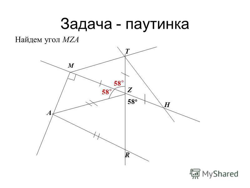 Задача - паутинка Найдем угол МZА 58 ° A M R H T Z
