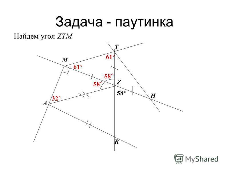 Задача - паутинка Найдем угол ZТМ 58 ° A M R H T Z 32 ° 61 °