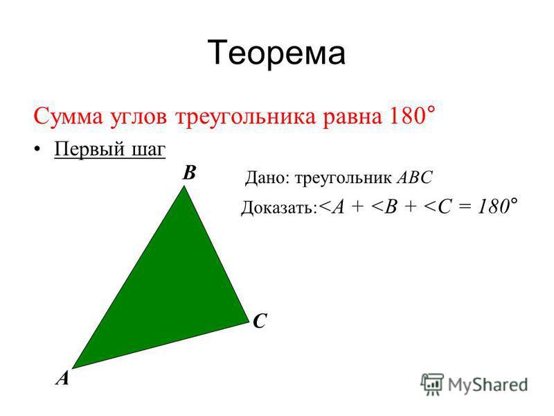 Теорема Сумма углов треугольника равна 180° Первый шаг Дано: треугольник АВС Доказать: <А + <В + <С = 180° А В С