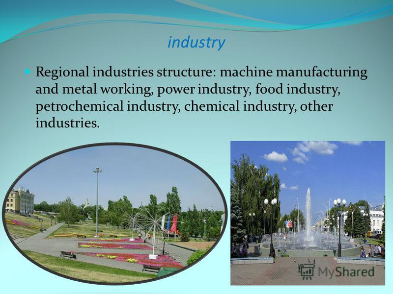 industry Regional industries structure: machine manufacturing and metal working, power industry, food industry, petrochemical industry, chemical industry, other industries.