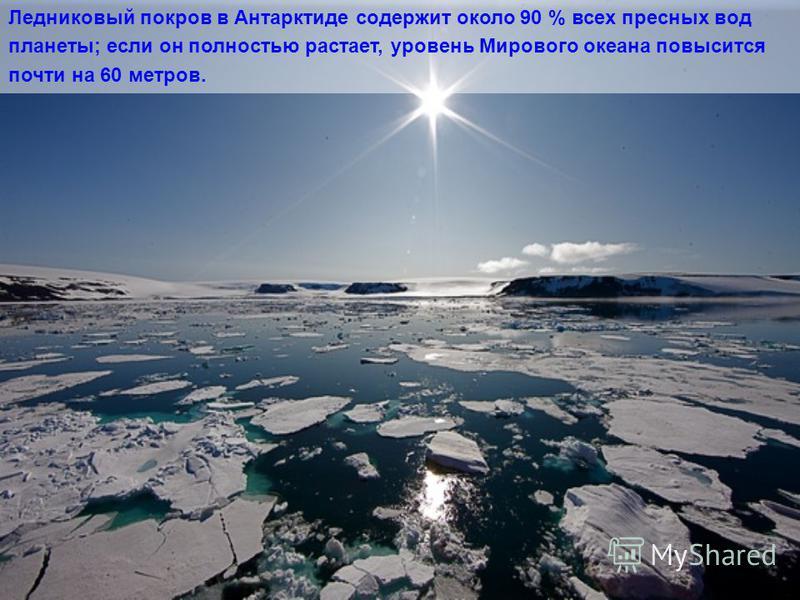 Антарктический ледниковый покров является крупнейшим на нашей планете и превосходит ближайший по размеру гренландский ледниковый покров по площади в 10 раз. В нём сосредоточено ~30 млн. км³ льда, то есть 90 % всех льдов суши.