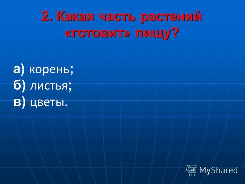 2. Какая часть растений «готовит» пищу? 2. Какая часть растений «готовит» пищу? а) корень ; б) листья ; в) цветы.