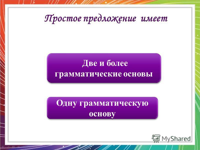 Одну грамматическую основу Одну грамматическую основу Две и более грамматические основы Две и более грамматические основы Простое предложение имеет