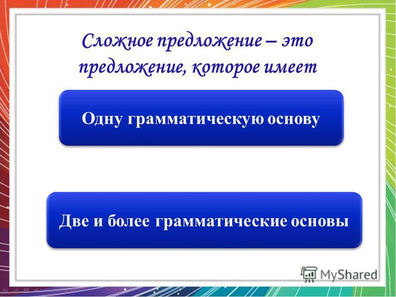 Две и более грамматические основы Одну грамматическую основу Сложное предложение – это предложение, которое имеет